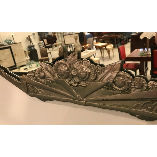 Silver French Art Deco Geometric and Floral Wall Mirror With Skyscraper Motif For Sale - Image 8 of 10