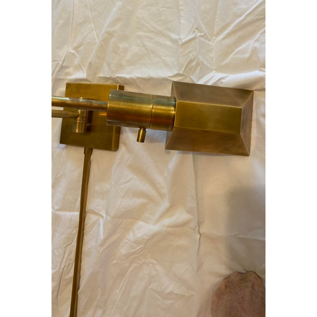 Visual Comfort Swing Arm Wall Light in Hand-Rubbed Antique Brass With Matching Cord Cover For Sale - Image 6 of 8