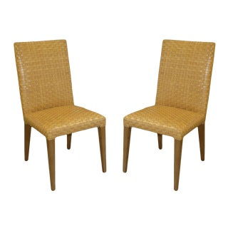 Stone International Woven Leather Dining Chairs- a Pair For Sale