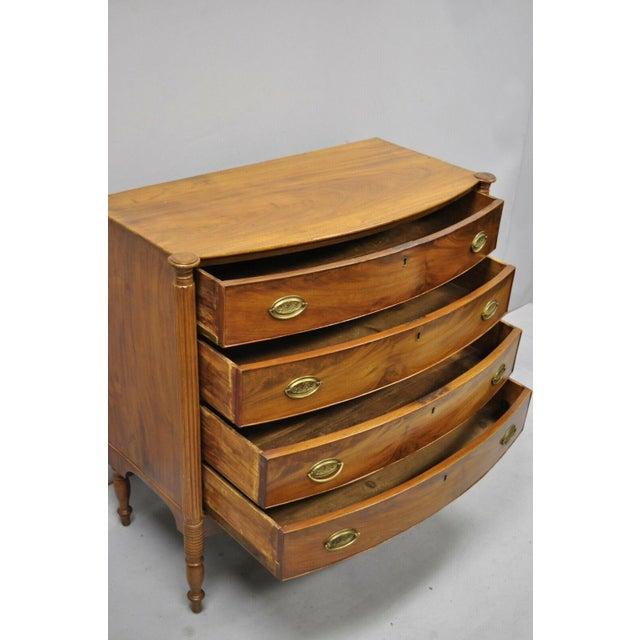 19th Century Sheraton 4 Drawer Mahogany Bow Front Chest Of Drawers For Sale In Philadelphia - Image 6 of 13