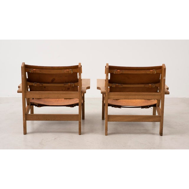 Kurt Ostervig Pair of Kurt Ostervig Hunting Chairs in Oak and Leather, Denmark 1960s For Sale - Image 4 of 11