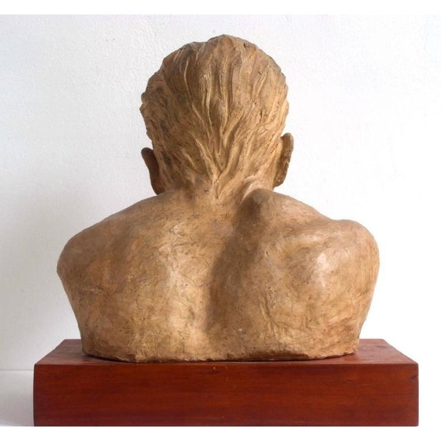 Traditional Portrait of an Athlete Clay Sculpture by A. Perelli For Sale - Image 3 of 8