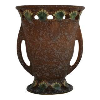 Vintage 1930s Roseville Pottery Ferella Vase Shape 500-5 Brown/White For Sale