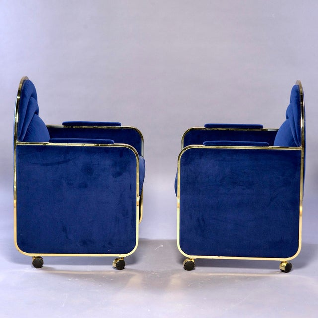 1970s Pair Design Institute America Baughman Style Brass & Blue Velvet Club Chairs For Sale - Image 5 of 9