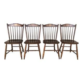 L. Hitchcock Riverton Harvest Stonington Windsor Side Chairs - Set of 4 For Sale