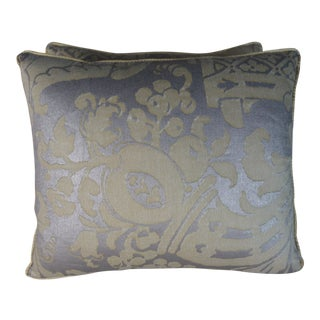 Citrine & Silvery Gold Fortuny Pillows, Pair