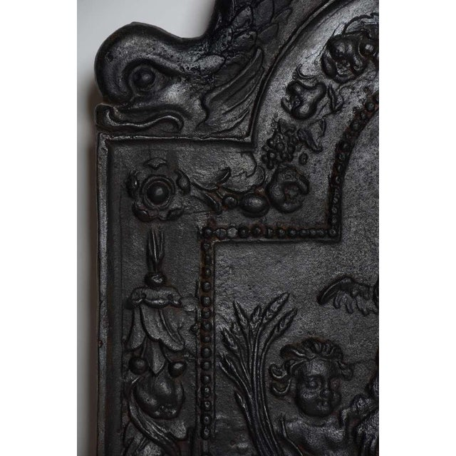 """Traditional 17th c. Antique Cast Iron Fireback Displaying """"Spes"""" The Goddess Hope For Sale - Image 3 of 7"""