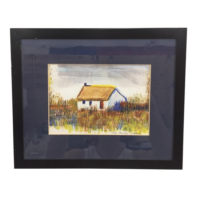 "Framed ""Casa Alem Tejo"" Watercolor Painting For Sale"