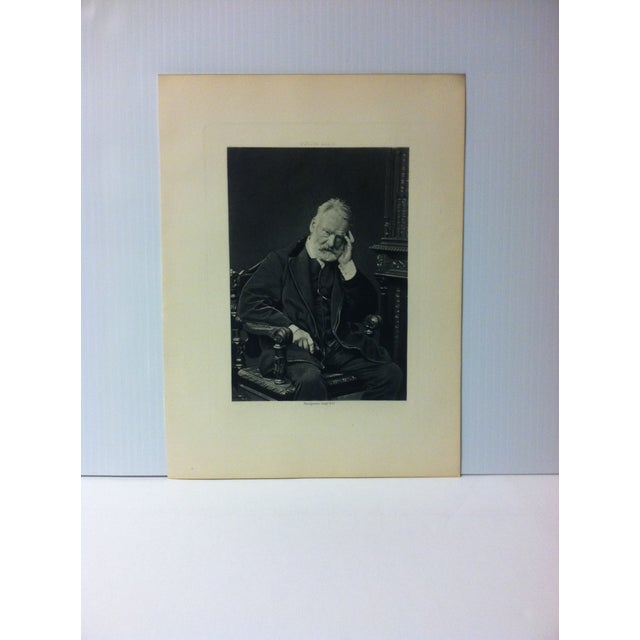 """Antique Black & White Engraving on Paper -- """"Victor Hugo"""" -- Goupil & Company, Circa 1880 For Sale - Image 4 of 4"""