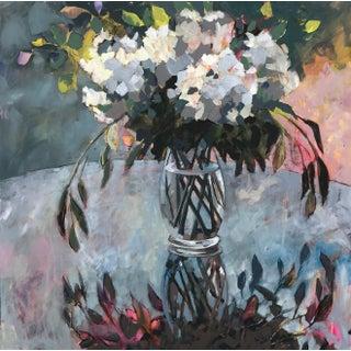 """""""Garden Party""""Contemporary Abstract Acrylic Painting of Hydrangeas For Sale"""