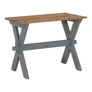 Antique Farmhouse Original Gray Painted Side Table For Sale