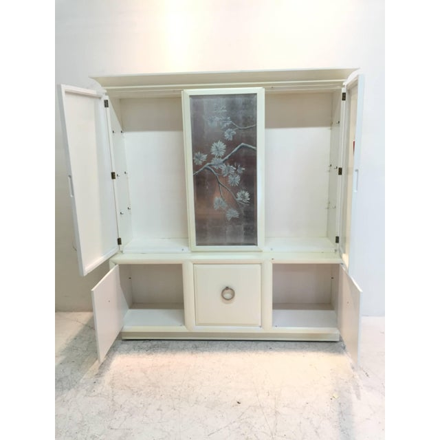 Cream Robsjohn-Gibbings for Widdicomb Cabinet With Sliver Leaf Door Panels For Sale - Image 8 of 9