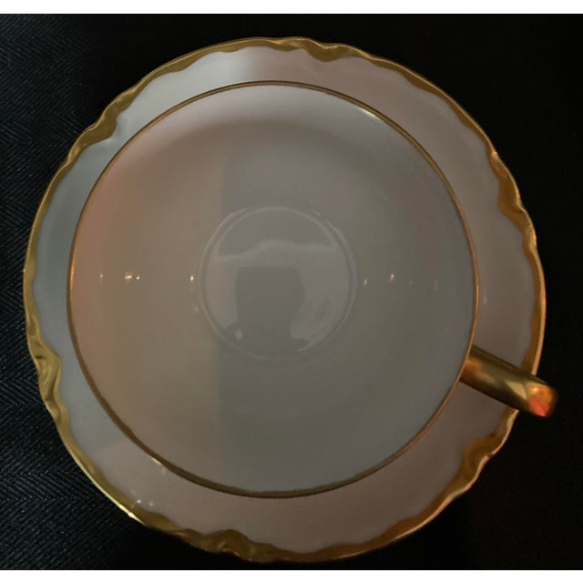Hutschenreuter White Porcelain and Gold Cup and Saucers - Set of 6 For Sale - Image 12 of 13