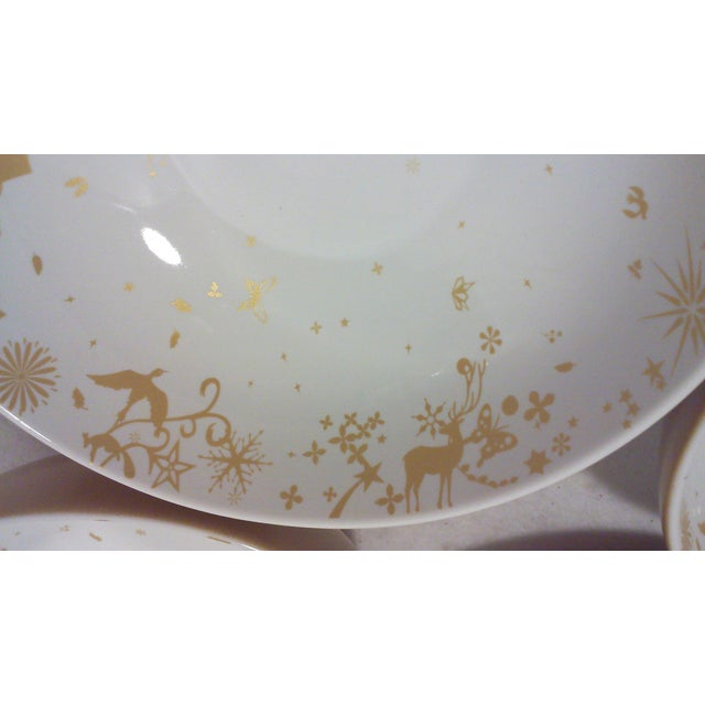 Modern Gold and White Winter Stag Bowls - Set of 4 For Sale - Image 3 of 7