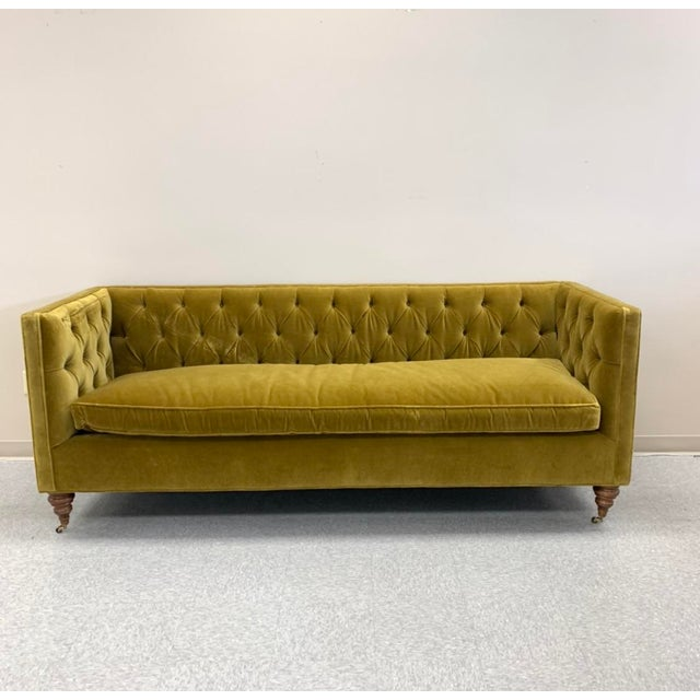 Chartreuse Tufted Sofa For Sale In Los Angeles - Image 6 of 6