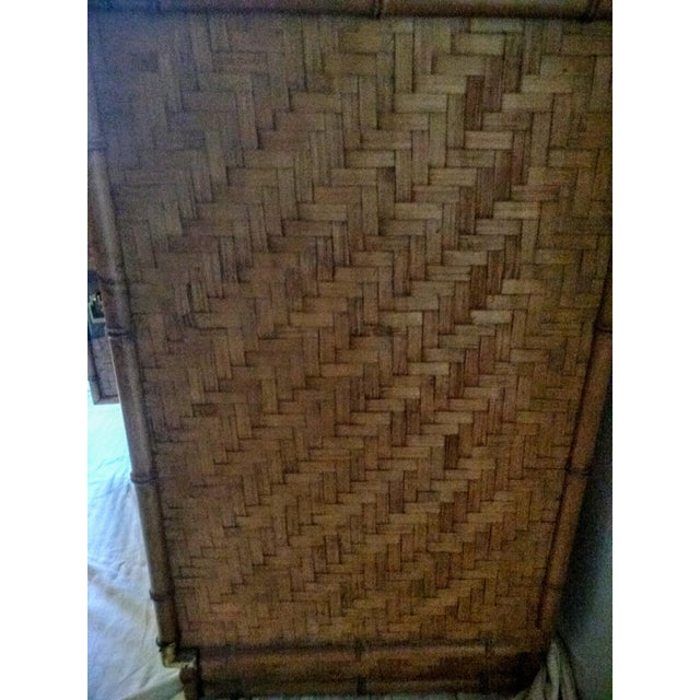 1960s Campaign Dixie Furniture Co Faux Bamboo & Woven Wicker Dresser and Mirror Set - 3 Pieces For Sale - Image 9 of 11