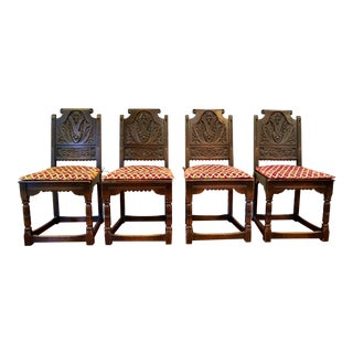1930s Vintage Antique Oak Wood Gothic Renaissance Revival Dining Side Chairs- Set of 4 For Sale