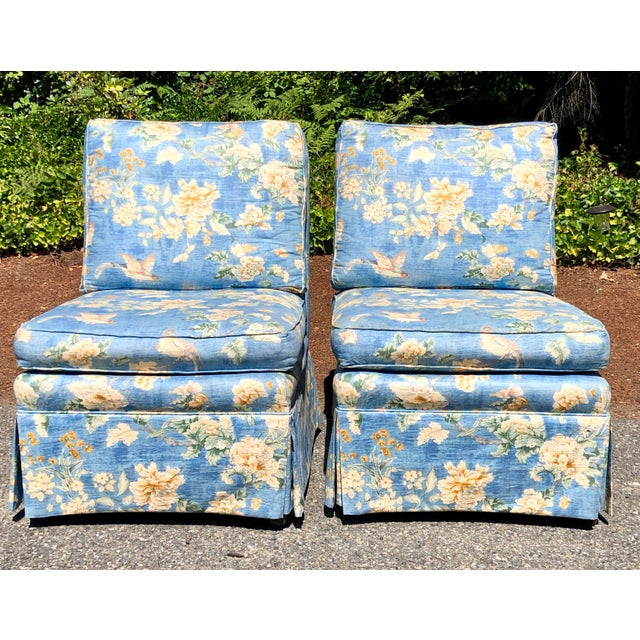 Vintage Pennsylvania House Skirtted Floral Chinosire Slipper Chairs- A Pair For Sale - Image 12 of 12