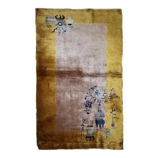 1920s Handmade Antique Art Deco Chinese Rug 3' X 4.11' For Sale