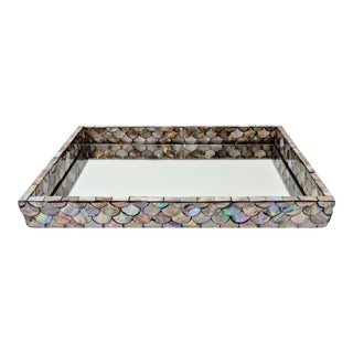 Abalone Shell Mirror Display or Serving Tray For Sale