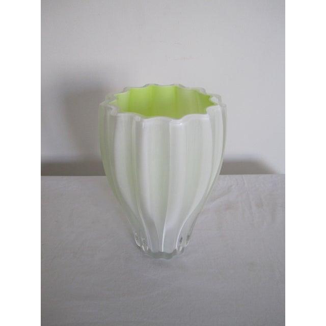 Scandinavian White Amp Neon Yellow Art Glass Fluted Vase By