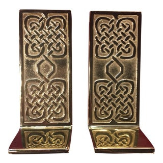 "Virginia Metalcrafters Co. For the Smithsonian Institute Polished Brass ""Celtic Knot"" Bookends - a Pair"
