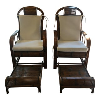 1920s Vintage French Indochina Bamboo Lounge Chairs- A Pair For Sale