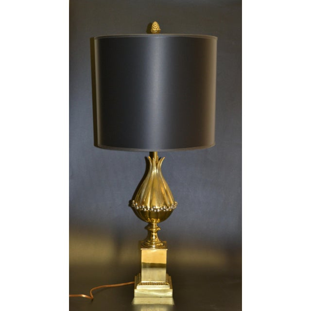 Art Deco Maison Charles French Art Deco Lotus Bronze Table Lamp Black & Gold Shade - Pair For Sale - Image 3 of 13