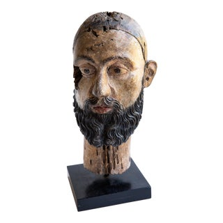 Indo-Portuguese 18th Century Wood Saint Head For Sale