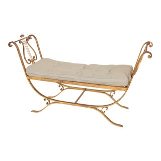 Neo Classical Style Gilt Iron Bench For Sale