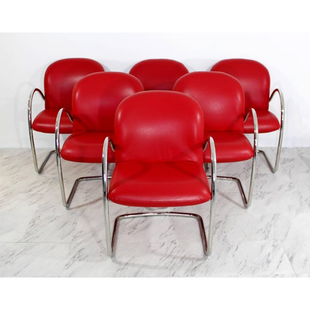 1980s Mid-Century Modern Brueton Red Leather Dining Armchairs - Set of 6 For Sale - Image 10 of 10