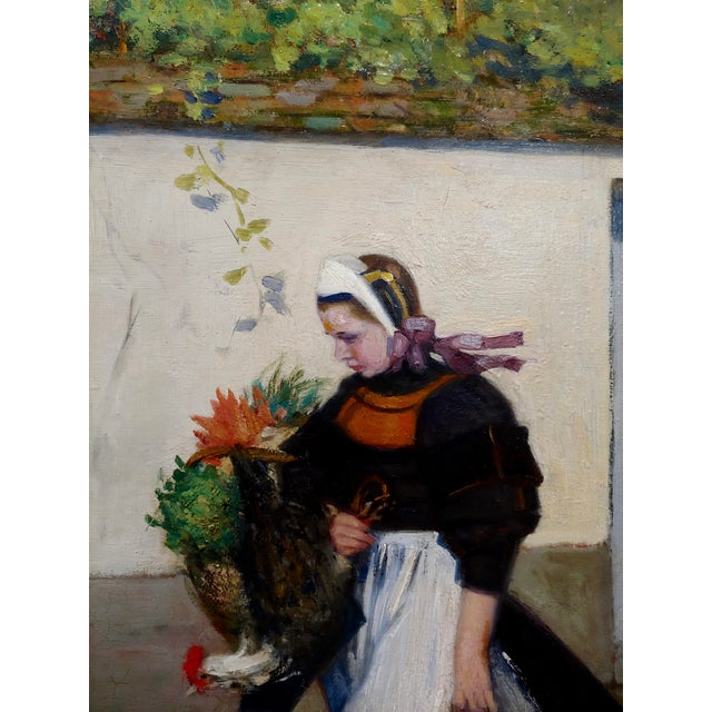 Jacques Wely -Woman & Her Jack Russel Dog Coming From the Market-Oil Painting For Sale In Los Angeles - Image 6 of 13