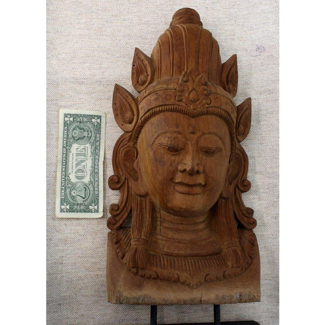 1940s Fine Carved Teak Mask on Stand Sculpture of Buddha For Sale - Image 5 of 11