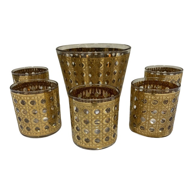 Culver 22k Gold Canella Ice Bucket Glasses Set For Sale