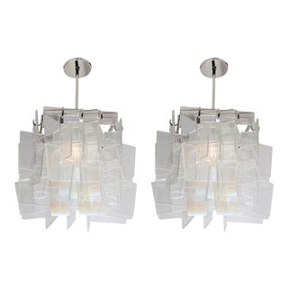 Mid-Century Square Glass Pendants - a Pair For Sale