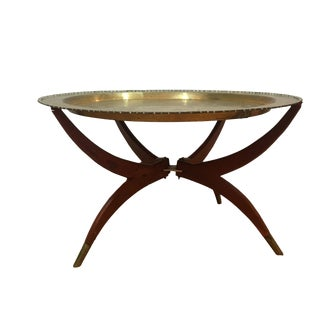 1960s Moorish Brass Tray Side Table For Sale
