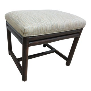 Vintage Mid-Century Clarks Rattan Bamboo Foot Stool For Sale