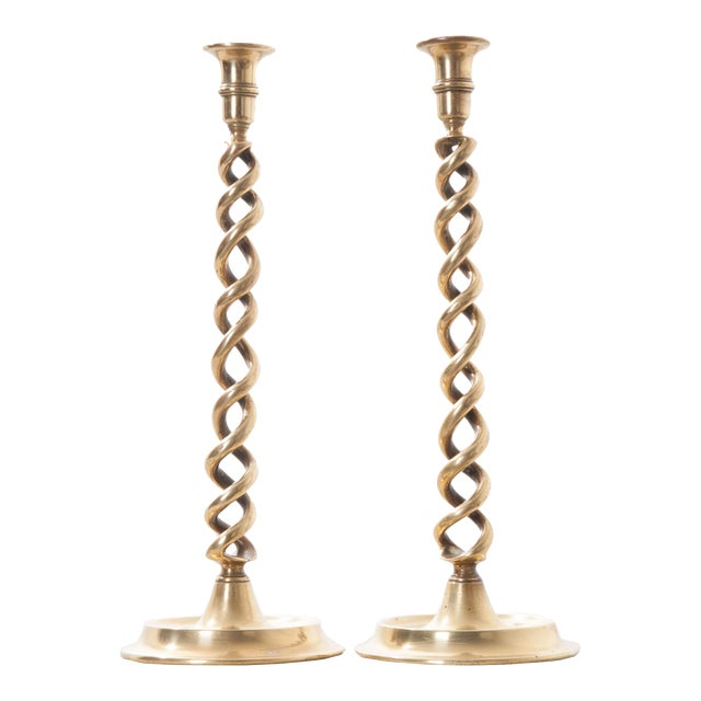 19th Century English Open Barley Twist Brass Candlesticks - A Pair - Image 1 of 7