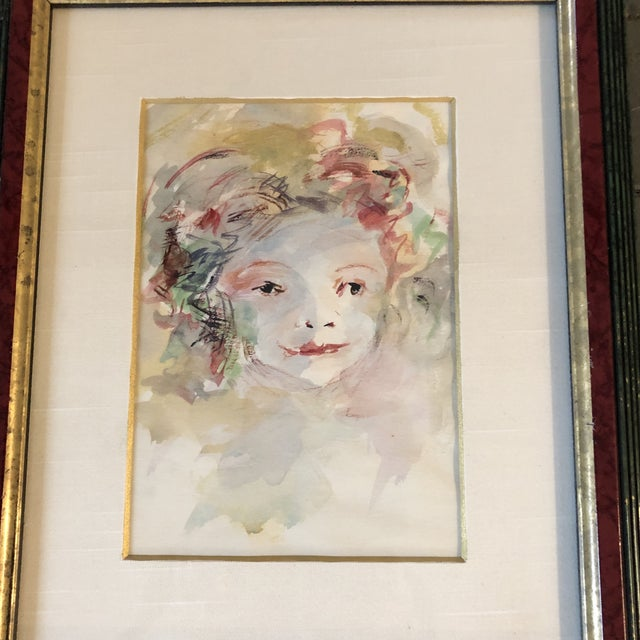 Original painting on paper Unsigned 4.5 x 6.5 Overall size with vintage frame is 9.25 x 11.5