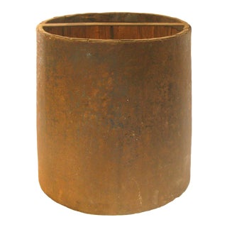 Antique French Wood & Metal Grain Measure Bucket For Sale