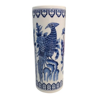 Signed Blue & White Phoenix Vase For Sale