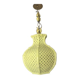 Chinoiserie Chartreuse Pierced Ceramic Faux Bamboo Pendant Lamp For Sale