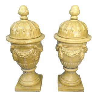 Pair of Massive Glazed Terracotta Garden Urns For Sale