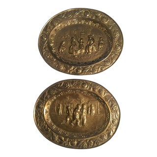 Vintage Old World Scene Oval Brass Plaques - a Pair For Sale