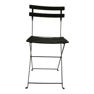 Vintage French Wood and Metal Folding Chair For Sale