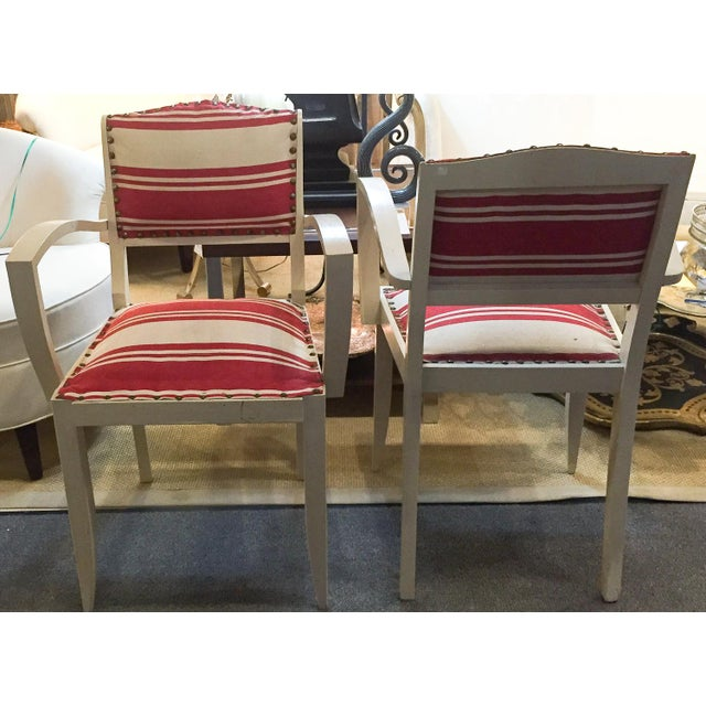 Pair, 1930's French ArmChairs, Red Stripes - Image 4 of 10