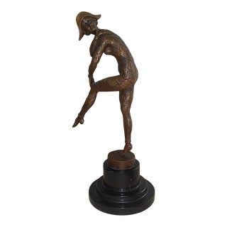 """Vintage Hand Cast Bronze Harlequin-Demetre Chiparus-Signed-13.75""""h- For Sale"""