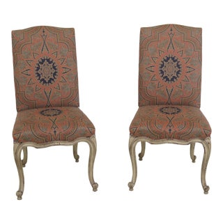 Hickory Chair Co French Style Upholstered Side Chairs- A Pair For Sale