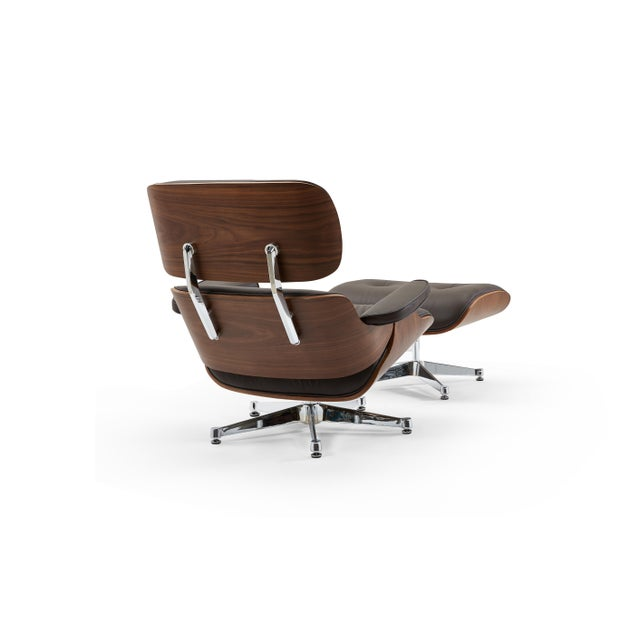 Pasargad's Florence Brown Leather Lounge Chair & Ottoman For Sale In New York - Image 6 of 9