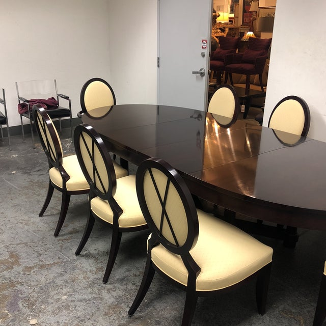 Barbara Barry Oval Dining Table & 8 Chairs for Baker - Set of 9 For Sale In San Francisco - Image 6 of 8